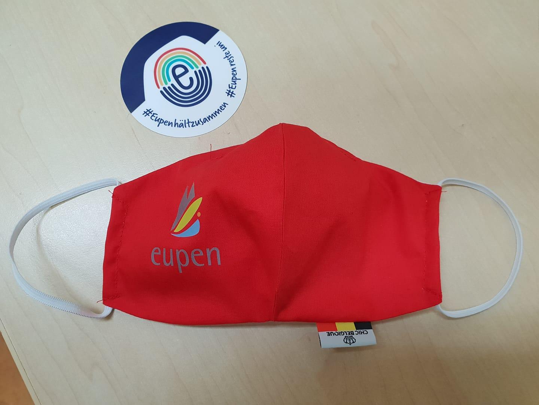 Mundschutz mit Eupen Logo - rot